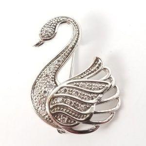 Diamonique Sterling Silver Swan Brooch / Pin